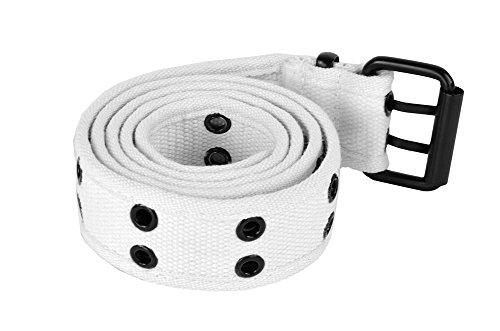 Grommet Belt for Women & Men - Double Hole Grommets Canvas Web Belts - Military Style Belt - 2 Prong Buckle by Belle Donne - White