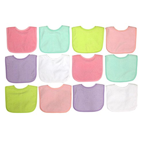 Girl 12 Pack Water Resistant Bib Set