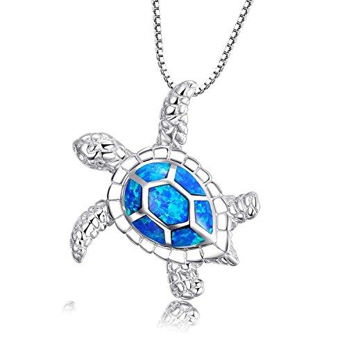Vanessa Blue Opal Sea Turtle Stud Earrings Pendant, Jewelry Sets for Women 925 Sterling Silver Birthstone Jewelry Birthday Gifts(Pendant ) (Opal Inlay Silver Pendant Jewelry)