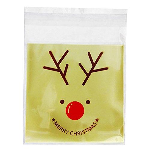100pcs Sachet de Bonbons Pochette Biscuit Sac en Plastique Cartoon Noël