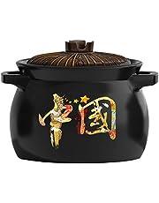 Ceramic Tureen Soup Clay Pot with Lid and Double Handle Ceramic Casserole Earthen Pot Ceramic Cookware for Open Fire Stew Soup Pot (5L) BBJOZ Fish Poachers