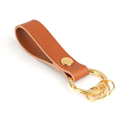 - Richbud Leather Keychain with 3 Detachable Gold Key Rings POB Handcraft Key Ring Lanyard Handmade (Tan)