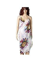 Sexy Womens Skirt Beach Swimwear Cover-up Dress with sunflower pattern