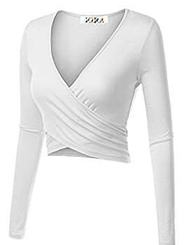 Kira Women's Deep V Neck Long Sleeve Unique Cross Wrap Slim Fit Crop Tops(xs,white) 1
