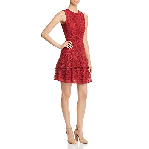 Michael Michael Kors Womens Ruffled Sleeveless Cocktail Dress Red M