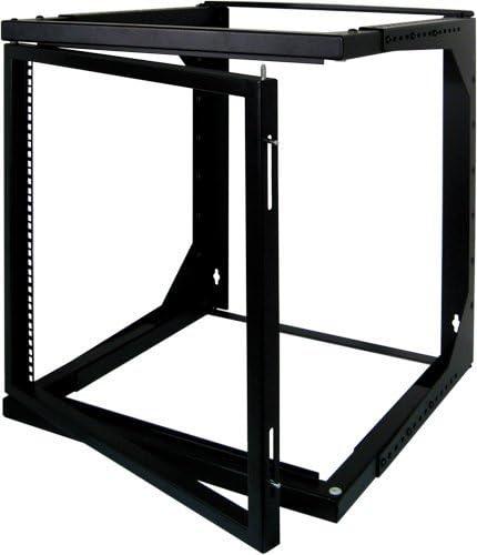 9U Open Wall Mount Frame Rack with Hinge Adjustable Depth 18-30