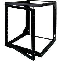 9U Open Wall Mount Frame Rack with Hinge - Adjustable Depth 18-30