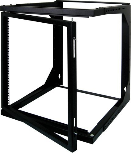9U Open Wall Mount Frame Rack with Hinge - Adjustable Depth 18