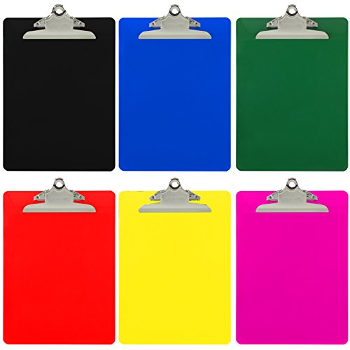 Trade Quest Plastic Clipboard Opaque Color Letter Size Standard Clip (Pack of 6) (Hanging Clipboard)