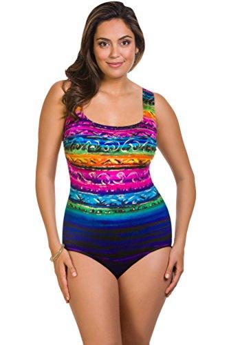 Longitude St. Lucia Plus Size X-Back One Piece Swimsuit Size 24W by Longitude