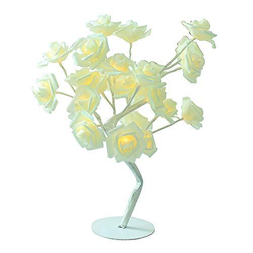 (Newkelly Decor 24LED Table Lamp Night Lights Desk Romantic Rose Tree Home Bedroom)