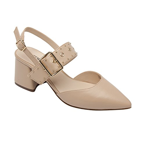 PIC/PAY Naiya | Women's Mid-Height Block Heel Studded Slingback Buckle Pump Nude Leather - Slingback Buckle