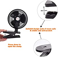 RamPro Personal Clip on Fan Cooling Portable Mini Desk Fan with Two Quiet Speeds Perfect for Home Baby Strollers Office Table Tops