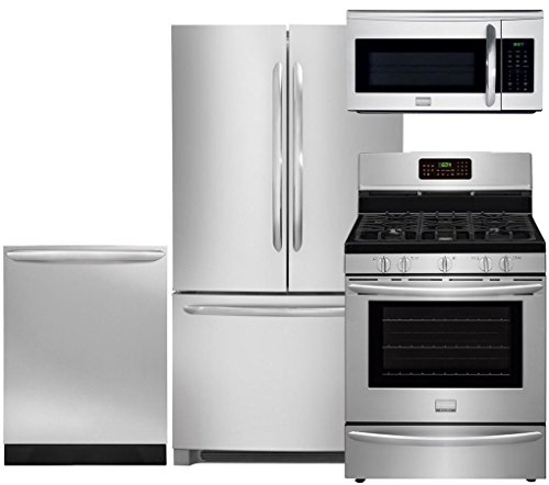 """Frigidaire 4-Piece Smudge-Proof Stainless Steel Package, FGHN2866PF 36"""" French Door Refrigerator, FGGF3058RF 30"""" Gas Range, FGID2466QF Fully Integrated Dishwasher, FGMV175QF Over Range Microwave"""