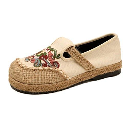 Dames Schoenen Loafers Plat Mocassin Exotisch Instappers Borduurwerk Ronde Neus Linnen Jurk Casual Oxford Schoenen Beige