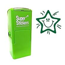Soluciones de estampador estampador pre Inked diseño de estrella sonriente – verde