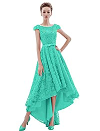 Xoemir Elegant High Low Lace Prom Dress for Bridesmaid Evening Gown with Beads