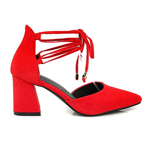Crimeng Women Heeled Sandal Summer Pointed Toe Lace Up Square High Heel Party Sexy Wedding Shoes
