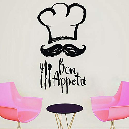 - Lorraine Sweet Chef Mustache Kitchen Vinyl Sticker Cooking Tall Chef Quotes Bon Appetit Wall Decal Room Decoration Waterproof 42 78cm
