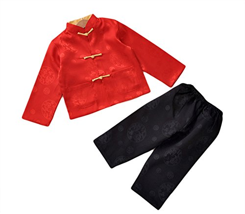 AvaCostume Boy's Chinese Traditional Long Sleeve Tang Suit, Redblack, 8