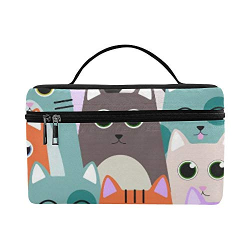 Seamless Pattern With Cute Cats For Kids Pattern Lunch Box Tote Bag Lunch Holder Insulated Lunch Cooler Bag For Women/men/picnic/boating/beach/fishing/school/work