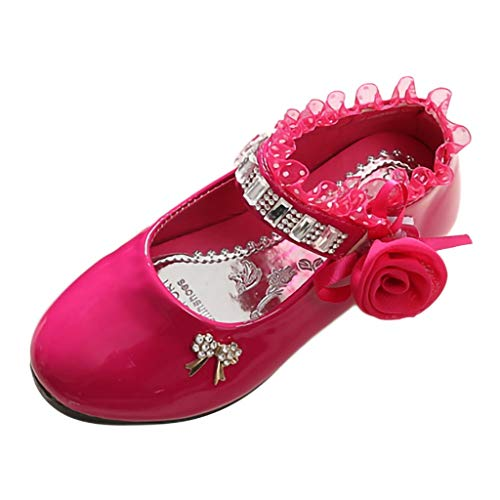 Tantisy ♣↭♣ Baby Girls Crystal Princess Shoes Lace Flower Rhinestone Dance Shoes Fashion Sandals for Toddler/Big Kids Hot Pink