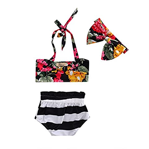 Baby Girls Surf Floral Bikini 3 Pcs Sets Shivering Top+Stripe Bottom+Bow Headband Multicolored Swimsuit - Apparel Swim Hipster Bikinis