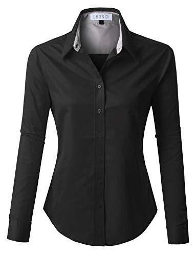 LE3NO PREMIUM Womens Easy Care Long Sleeve Button Down Work Shirt, L3NWT1807_BLACK, Large