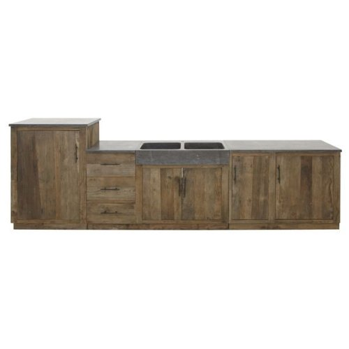 6ff97b3f8db641 Becken aus Sandstein Schwarz Massivholz Ulme recycelt - Modell Luedoc   Amazon.de  Küche   Haushalt