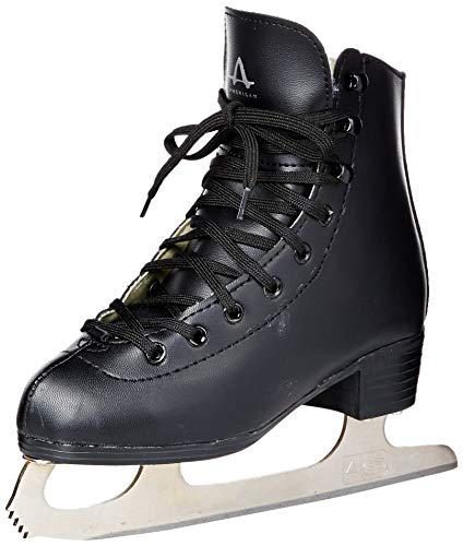American Athletic Shoe Boys Tricot Lined Figure Skates, Black, 3
