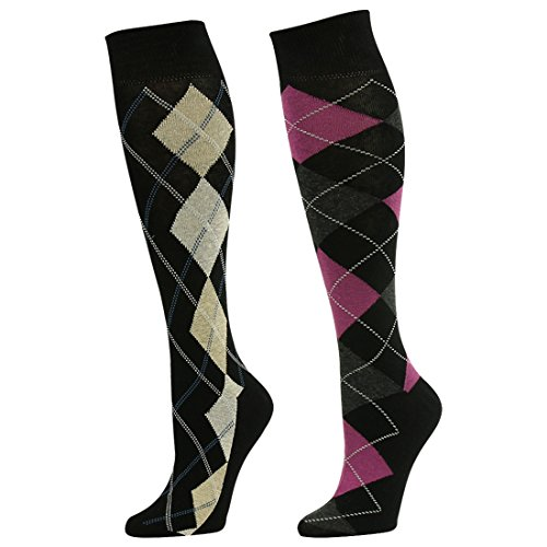 Wedding Socks, SUTTOS Men's Boy's Adult Knee High Pink Yellow Black Grey Crazy Funky Argyle Nordic Striped Long Boot Crew Groomsmen Dress Socks Father's Day Socks,2 Pairs