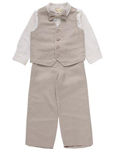 Bow Dream Baby Boys Suit Schoolboy Vest Pants 4 Pcs Set Beige 6]()