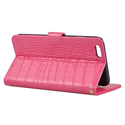 Phone Taschen & Schalen Krokodil-Textur Horizontale Flip Echtes Leder Etui mit Card Slots & Holder für iPhone 6 Plus & 6S Plus ( Color : Magenta )