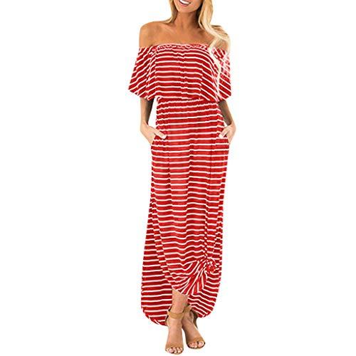 Xinantime Women Off Shoulder Stripe Print Tassel Trim Flounce High Waist Summer Beach Maxi Dress Red