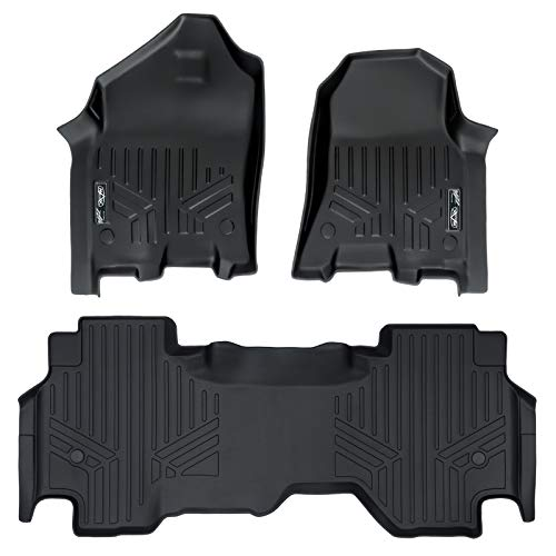 MAX LINER A0369/B0370 Custom Fit Floor Mats 2 Liner Set Black for 2019 Ram 1500 Quad Cab with 1st Row Captain Bench Seats