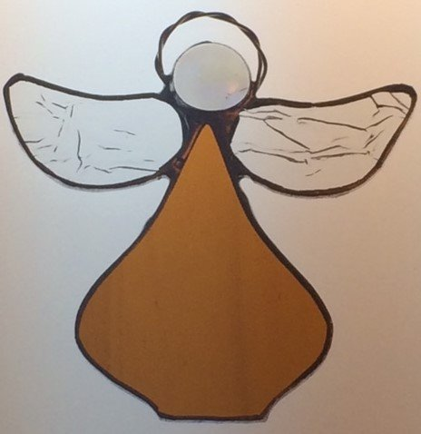 Handcrafted (Amber) Angel Sun Catcher Stained Glass Ornament