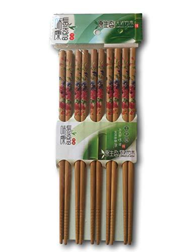 Wei Kang Decorative Natural Bamboo Chopsticks Set 5 Pairs Reusable (Floral Design)