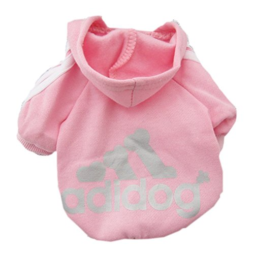 Moolecole Pet Sports Apparel Cat & Dog Cold Weather Coats Dog Hoodies Pet Sweaters (M, Pink)