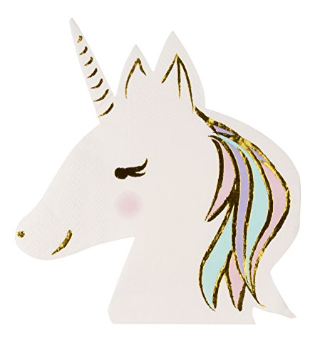 Cocktail Napkins - 50-Pack Luncheon Napkins, Disposable Paper Napkins Birthday Party Supplies, 3-Ply, Unicorn Die-Cut Shaped Design with Gold Foil, Folded 6.5 x 6.3 Inches