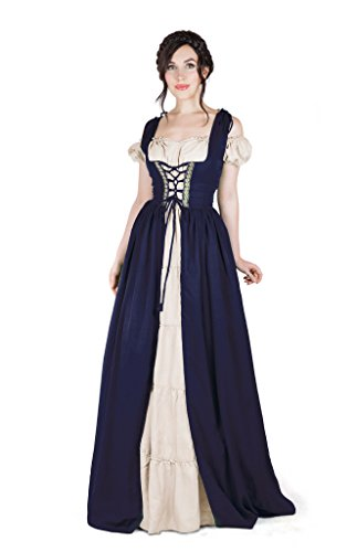 Boho Set Medieval Irish Costume Chemise and Over Dress (2XL/3XL, Indigo)