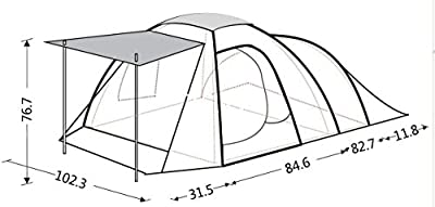 KingCamp ROME4 Durable Tear Resistant Windproof D Shape Inner Door, 4-Person Camping/Traveling Family Tent with Compression Bag (GREEN)