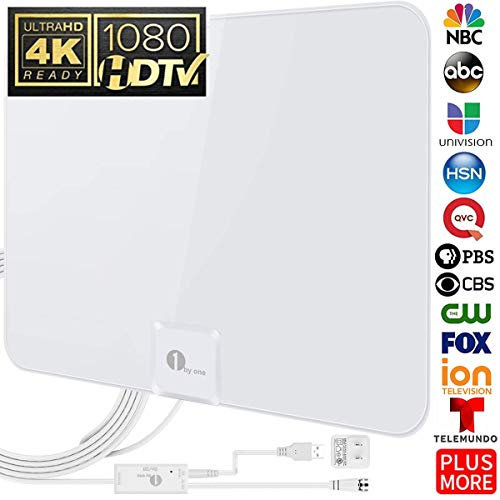 [Upgraded 2019] 1byone Digital Amplified Indoor HD TV Antenna, Amplifier Signal Booster Support 4K 1080P UHF VHF Freeview HDTV Channels, 20ft Coaxial Cable ()