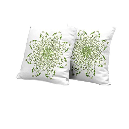 All of better Chaise Lounge Cushion Cover Celtic,Oriental Flower Design Circle Pattern with Laurel Leaves Birds Floral Renaissance Print,Green Outdoor Pillow Covers 14x14 INCH - Flower Design Circle