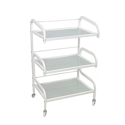 Mefeir 3 Tiers Salon Barber Trolley Cart on Wheels,Glass Hairdressing Rolling Utility Storage Organizer,Coloring Beauty SPA Tool Holder,White (3 Tiers)