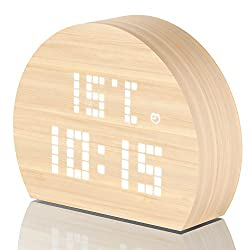 PlusDot Alarm Clock, Wooden Clock with White LED Digital Time, 3 Ambient LED Brightness,Temperature, Humidity. Bright Easy to Read, Voice Activated Commands, Alarm Setting (Asymmetrical circle)