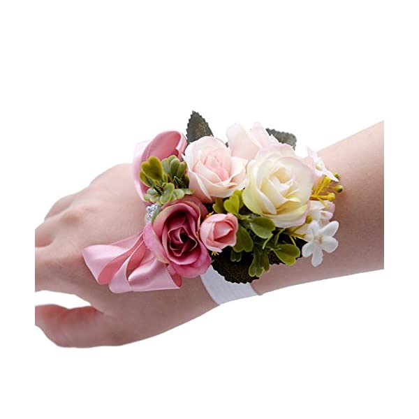 USIX Corsage Pack-Handmade Artificial Rose Rosa Blossom Green Leaves Wrist Corsage & Men's Lapel Boutonniere Pin Corsage Set for Wedding Party Prom Homecoming (Pink Corsage)