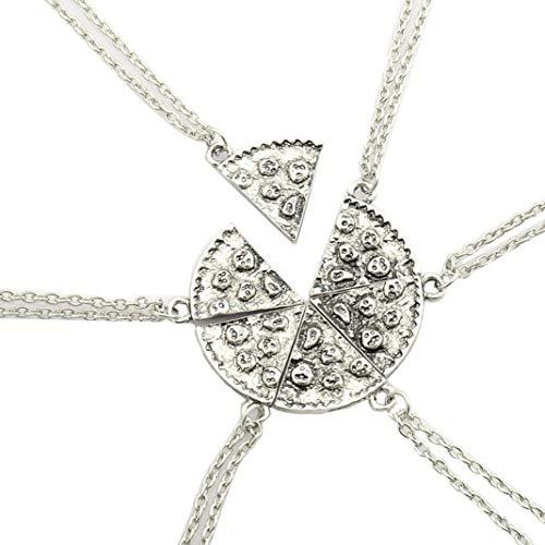 Fusicase 6pcs/lot Bling Silver Friend Friendship Couple Pizza Metal Necklace(Silver)