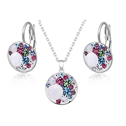 Round Necklace Earring Set - Cut-throat Price 26 Colour Cheap Multicolour Crystal Round Earring Necklace Jewelry Set