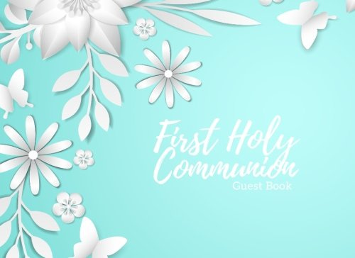 First Communion Photo Invitations - First Holy Communion Guest Book: Blue
