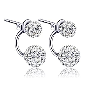 Kikole Women Jewelry Silver Double Beaded Rhinestone Crystal Stud Earrings Stud